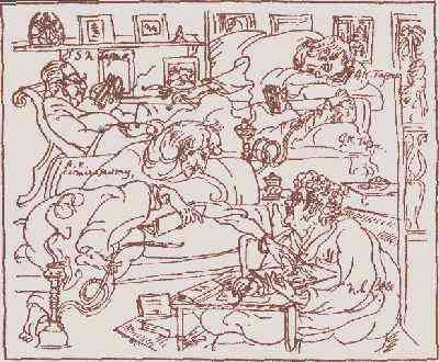 drawing of AKC with the Tagore family